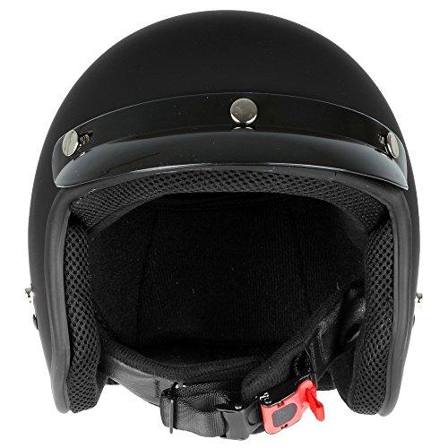 Mach1® Jethelm Motorradhelm schwarz Roller Scooter Helm Größe XS bis XXL mit abnehmbarem Schirm (Größe 63-64 cm XXL) (Schwarz-matt, 57-58cm (M)) - 3