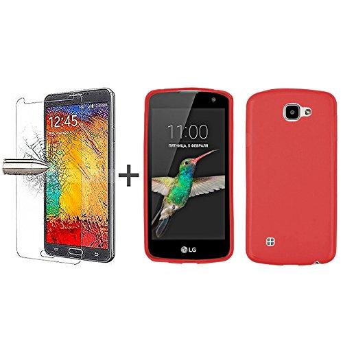 TBOC Pack: Funda de Gel TPU Roja + Protector Pantalla Vidrio Templado para LG K4 - K4 4G - K4 LTE. Silicona Ultrafina y Flexible. Protector Resistente a Golpes Caídas y Arañazos