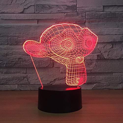 Schlafzimmer schlaf dekor leuchte usb 7 farben ändern 3d led kreative lange gesicht affen form schreibtischlampe tier nachtlicht geschenke