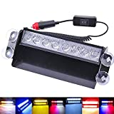 #3: Phenovo 8-LED Emergency Car Dash Warning Strobe Flash Light Lamp Amber+White