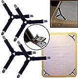 TJW Lot de 4fixations de drap triangulaires élastiques et réglables avec clips en métal