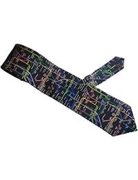 Soie cravate des hommes en noir avec Londres Carte du tube souterrain sur elle