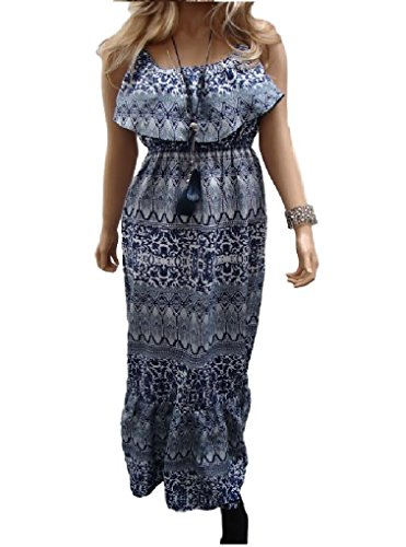 holidaysuitcase-Ladies womans gypsy boho maxi summer drop sleeve off shoulder holiday dress (10/12, Blue Aztec)