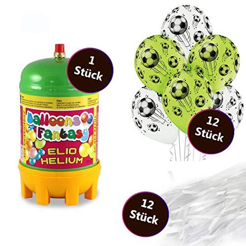 deqoo Helium Set 2 x Premium Luftballon 6er-Set Fussball 30cm 12