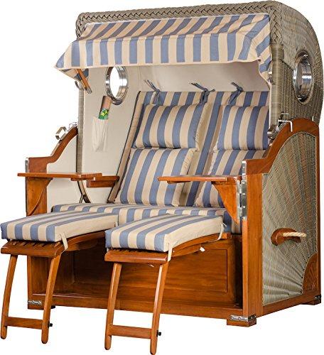 Mahagoni Strandkorb 2,5 Sitzer Baltikum Bullaugen Blau Beige Blockstreifen 140cm breit inklusiv Rollen und Verstellhilfe – Komplettangebot