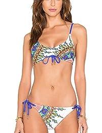3a5da55eb4 Strand Damen Bikini Set Bademode Badeanzüge Bikinis für Frauen Mädchen  Neckholder ...