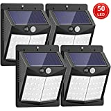 [Upgraded 50 LED] Solar Lights Outdoor, SEZAC Solar Security Lights Solar 150° Wide Angle Lighting Solar Motion Sensor Lights Wireless Waterproof Outdoor Lights for Garden Fence Patio Garage (4 Pack)