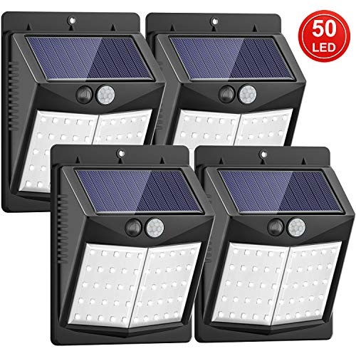 La luz solar SEZAC Solar Security Lights 50 LED es ideal para la iluminación nocturna de caminos, calzadas, jardines, jardines, pasillos, patios, etc. Durante el día, el panel solar convierte la energía solar en electricidad y la almacena con la bate...