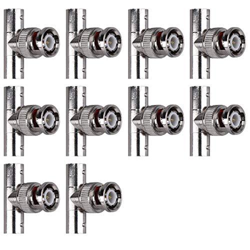 kwmobile 10x BNC T-Adapter - BNC Stecker männlich mit Pin auf 2X BNC Koaxial Kupplung weiblich ohne Pin - BNC T-Stück Verbinder Adapter Set (Auf Weibliche 2 Bnc-stecker)