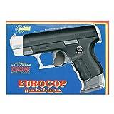 J.G.Schrödel Euro-Cop Pistole: Spielzeugpistole für Zündplättchen, ideal für das Polizeikostüm, 13 Schuss, in Box, 16.5 cm, schwarz / silber (306 0096)