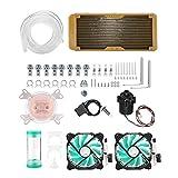 Garsent Computer Wasserkühlung System, CPU Water Cooling Kit Inkl.Pumpe/Tube Reservoir/RGB Fan uzw.