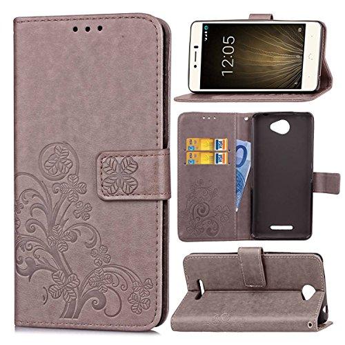 Guran® PU Ledertasche Case für BQ Aquaris U Lite Smartphone Flip Cover Brieftasche und Stent Funktionen Hülle Glücksklee Muster Design Schutzhülle - Grau