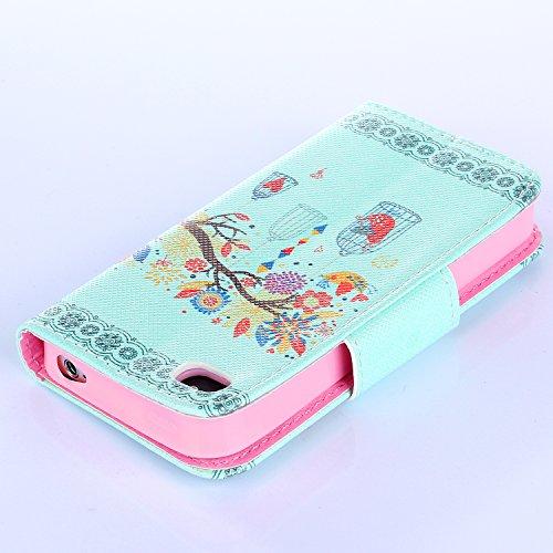 Beiuns Étui en Simili cuir pour Apple iPhone 4 4G 4S Housse Coque - N112 L'hirondelles s'envole (Be free) R137 Vert Cage