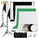 SBARTAR Fotostudio Set Studioleuchte Greenscreen Set Hintergrundstoff x4 2 * 2M Hintergrundsystem 50 * 70CM Dauerlicht Softbox LED Fotolampe 5in1 Reflektor 3X Studioklemmern 2X Tragtasche