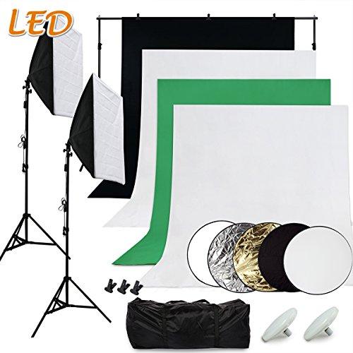 SBARTAR - Fotostudio Set Studioleuchte Fotografie Set inkl. 4x Fotohintergrund schwarz 2x weiß grün 2*2M Hintergrundsystem 2x50*70CM Softbox 2x LED Fotolampe 5in1 Reflektor 3x Studioklemmern 2x Tragtasche