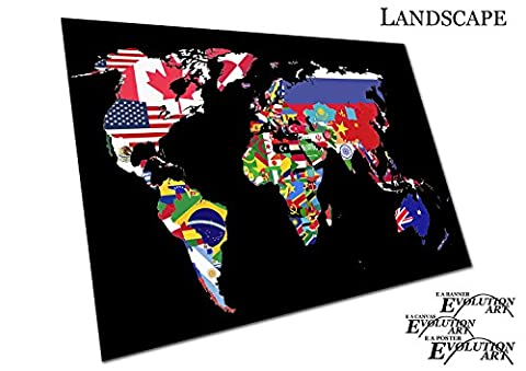 Map of the world countries made from nation flags print - Roll Up Banner Textured Size A3