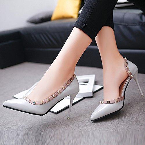 Minetom Frühjahr Sommer Herbst Mode Dame Wies High Heels Asakuchi Niet Stöckelschuhen Die Füße Schuhe Pumps Parteien Hochzeit Grau