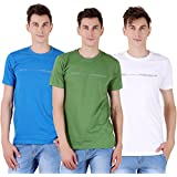 Tapasya Navy Blue Forest Green White Round T-Shirt Pack Of 3