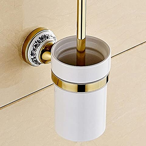 BY-European-style luxury bathroom, dark bronze toilet brush holder, copper plated toilet , gold