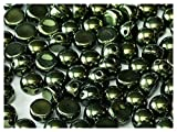 25pcs Cabochon Bead - Brand new Czech glass Beads in Shape Half-sphere 6 mm with 2 Holes, Jet Green Luster (23980/14495)