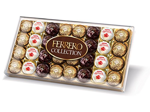 Ferrero Collection Chocolate Gift Set, Includes Ferrero Rocher, Rondnoir, and Raffaello, Assorted Milk Chocolate, Dark Chocolate and Coconut, and Almond Pralines, Box of 32 Pieces