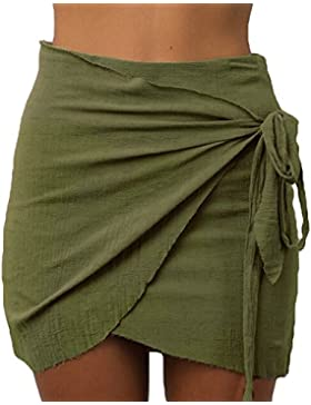 Juleya Mujeres Falda Lápiz Cintura Alta Asimétrico Encajes Up Ladies Sexy Mini Falda Corta