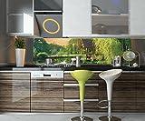wandmotiv24 Küchenrückwand Gartenlaube an Kleinem See Nischenrückwand Spritzschutz Design M0694 240 x 60cm (B x H) - Aluminium Gebürstet 3mm
