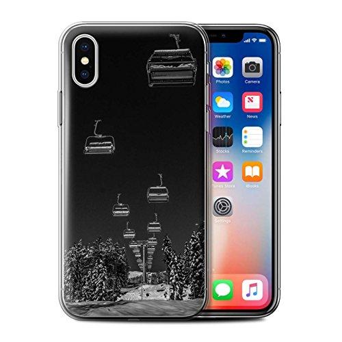 Stuff4 Gel TPU Hülle / Case für Apple iPhone X/10 / Liebe die Berge Muster / Skifahren/Snowboard Kollektion Ski Aufzug