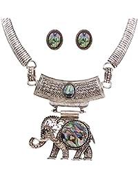 Vendimia Resina De Plata Antigua Elefante Colgante De Las Mujeres Collar Fornido Aretes