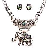 QIYUN.Z Resina De Plata Antigua Elefante Collar De La Mujer Colgante De Cadena Pendiente Del Conjunto De Joyas Retro