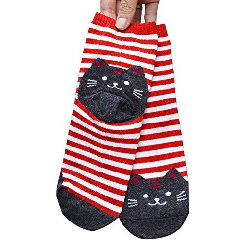 Hanes Socken Blau (Socken, Hansee, 3D Tiere Striped Cartoon Socken Frauen Katze Fußabdrücke Baumwolle Socken Boden (Rot))