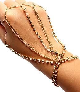 armband ring kombination alle finger ringe sind mit armband verbunden gold effekt mit. Black Bedroom Furniture Sets. Home Design Ideas