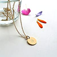 Personalised Gold Little Initial Disc Pendant Necklace