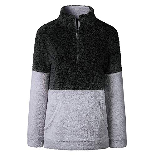 (MIRRAY Damen Herbst Winter Samt Langarm Reißverschluss Rollkragen Taschen Tops Pullover Bluse)