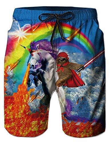 Funnycokid Herren Badehose 3D Print Einhorn Graphic Summer Quick Dry Leichte Badehose - Graphic T-shirt Short
