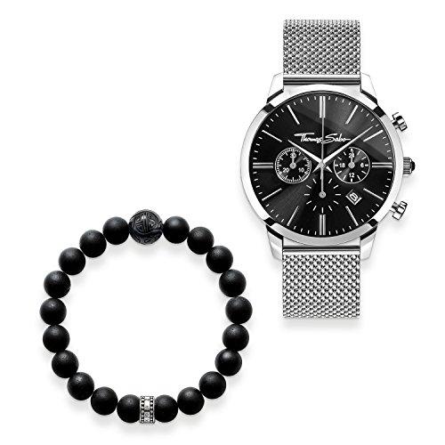 THOMAS SABO Herren Herrenuhr Rebel Spirit Chrono mit Armband 925 Sterlingsilber; Edelstahl Milanaisearmband SET0519-623-11