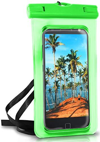 ONEFLOW Wasserdichte 360° Handy-Hülle für Motorola und Lenovo [Full-Body Cover] Touch-Funktion und Kamera-Fenster + Armband und Schlaufe zum Umhängen, Grün