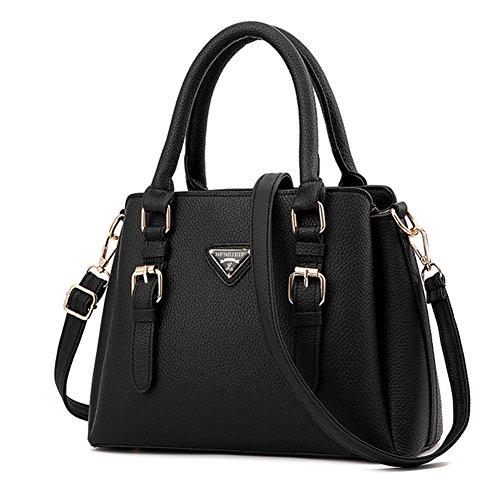 fanhappygo Fashion Retro Leder Damen elegant Einfach taschen Schulterbeutel Umhängetaschen Abendtaschen schwarz