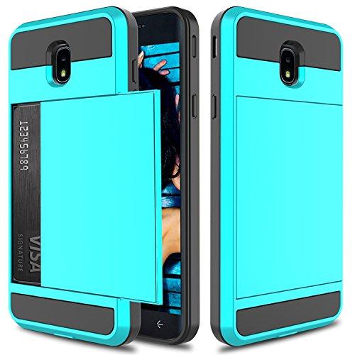 Galaxy J72018Fall, J7Stern Schutzhülle, J7Krone Fall, Elegante Choise Hybrid-Dual-Layer stoßfest Wallet Fall mit Kreditkarte Slots Halter Schutzhülle für Samsung Galaxy J7Aero, Blau - Kronen Elegante