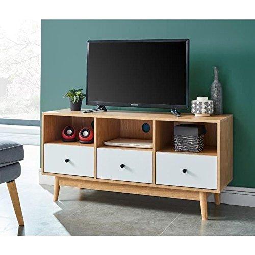 HAPPY Meuble TV scandinave mélaminé décor chene et blanc mat + pietement en hévéa massif - L 120 cm