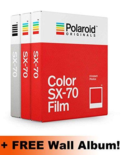 Polaroid Originals SX70Core Folie Triple Pack (2Farbe, 1B & W) + Gratis Wand Album