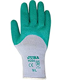 Juba Guante poliamida recubrimiento latex rugoso amarillo talla 8