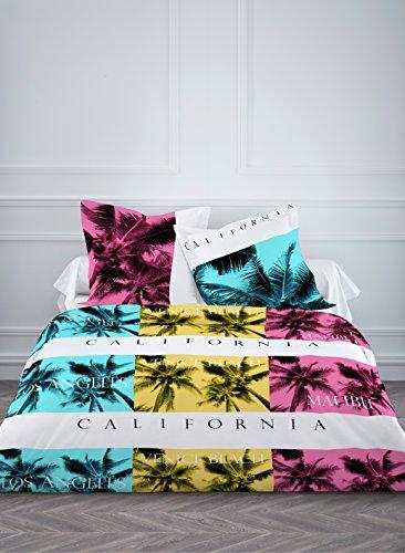 Today 015777 CALIFORNIA Parure de lit avec Housse de couette/2 taies d'oreillers Coton Jaune/Bleu/Rose 220 x 240 cm