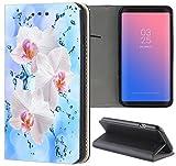 Samsung Galaxy J5 2017 J530 Hülle Premium Smart Einseitig Flipcover Hülle Galaxy J5 2017 Flip Case Handyhülle Samsung J5 2017 Motiv (1112 Orchidee Blume Pink Rosa Blau)