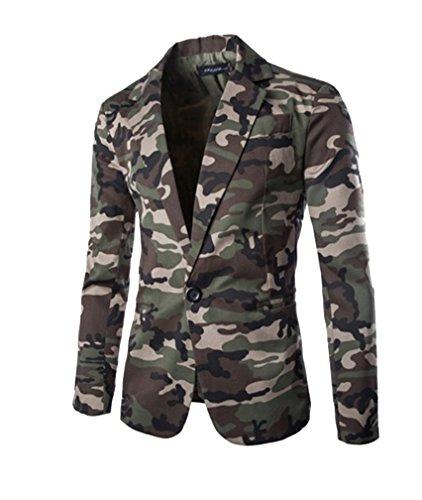 Gladiolus Herren Lässig Camouflage Slim Fit Blazer Anzugjacke Sakko Blazer Casual Sakko Armeegrün M