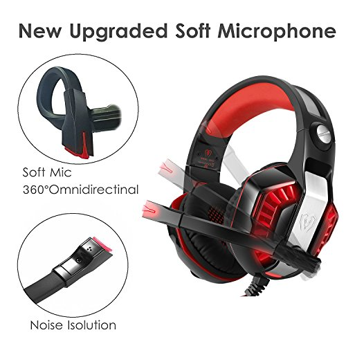 Previous  Next. . Gaming cuffia microfono Micolindun PC gamer con microfono  3.5 mm stereo Bass LED di controllo volume fd56fad33674