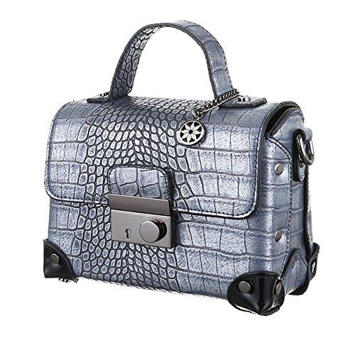 iTal-dEsiGn Damentasche Kleine Schultertasche Handtasche Koffertasche Kunstleder TA-4340-88 Blau Silber