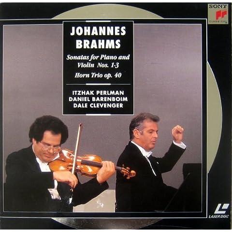 BRAHMS: VIOLIN SONATAS NOS. 1-3 & HORN TRIO OP.40 - PERLAMAN, BARENBOIM, CLEVENGER - LASER DISC