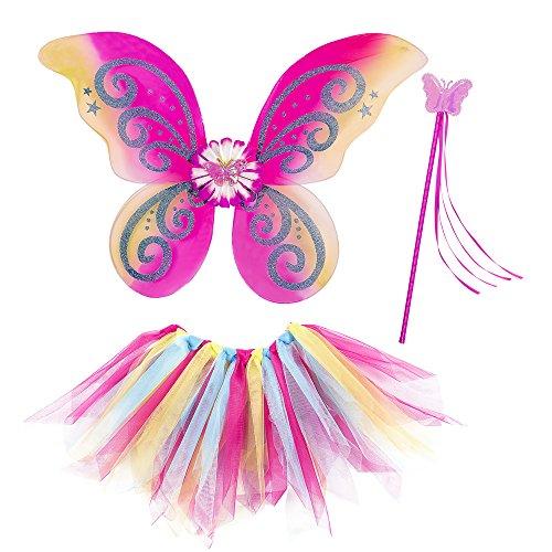 Widmann fatina fantasy tutu ali bacchetta magica costume party e carnevale gioca 169 per bambini, multicolore, one size 8003558965458