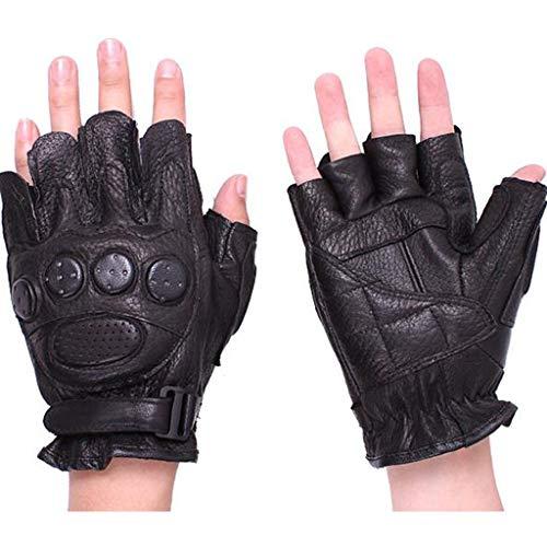 HNHX Handschuhe Schwarz Leder Sport Halbfingerhandschuhe Fitness Slip Fingerlose Handschuhe Geeignet Für Den Outdoor-Reitsport Farbe Schwarz (Color : Black)
